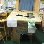 The Cardboard House created by the Young Fives classroom.